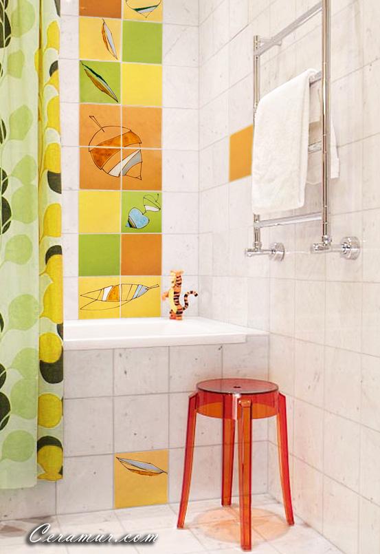 Click To Enlarge Image Leaves Bathroom Decorative Tiles 02 Ceramur Jpg